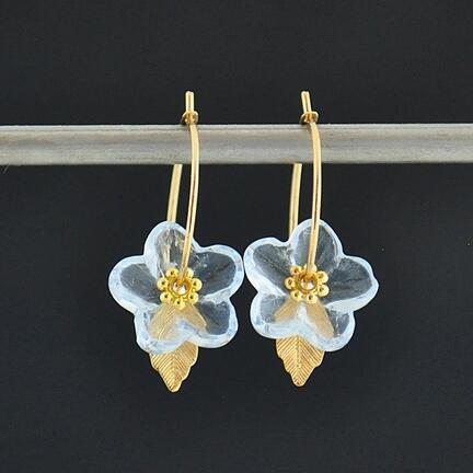 Lyseblå Glasblomst øreringe