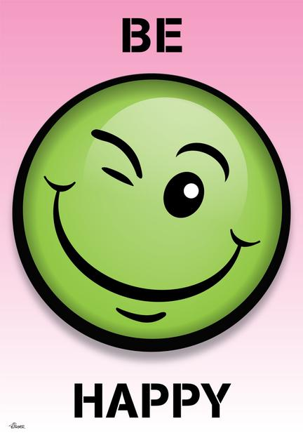 Smiley poster pink green See more ©Birger Design