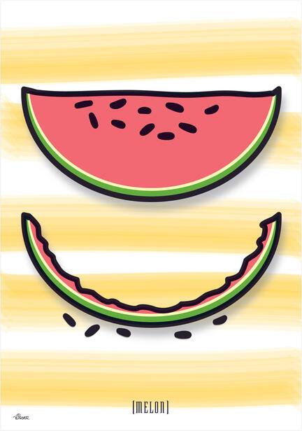 melon brush vegetable fruit colour Poster plakat ©Birger www.artprintandmore.dk