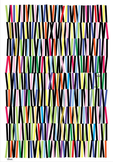 Mix colour strokes illustration graphic art poster
