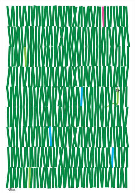 Green strokes illustration graphic art poster
