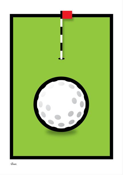 Golf hole flag green graphic colour Poster plakat ©Birger www.artprintandmore.dk