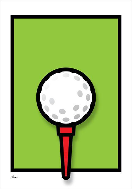 Golf Tee green graphic colour Poster plakat ©Birger www.artprintandmore.dk