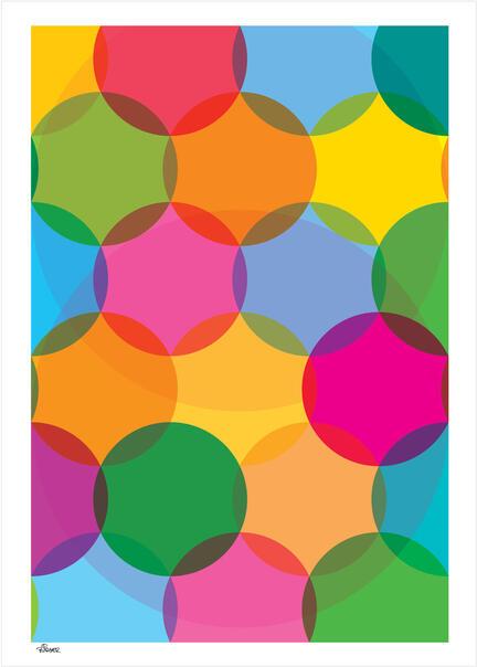 Big dots circles 2 colour poster graphic danish design art print plakat © Birger Bromann